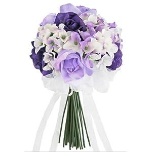 Hydrangea Rose Purple Lavender Hand Tie Small - Silk Bridal Wedding Bouquet 41