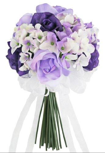 Hydrangea Rose Purple Lavender Hand Tie Small - Silk Bridal Wedding Bouquet (Bouquet Lavender Rose)