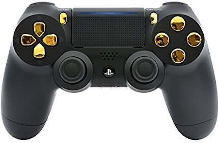 Black/Gold Custom PS4 PRO Rapid Fire Custom Modded Controller 40 Mods for All Major Shooter Games, Auto Aim, Quick Scope Sniper Breath & More (CUH-ZCT2U) (Infinite Warfare Best Sniper)