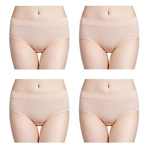 wirarpa Womens Soft Cotton Stretch Underwear 4 Pack Comfortable Mid Rise Briefs Underpants Beige, Size 7