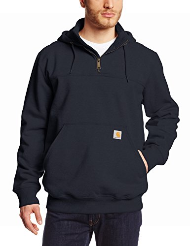 Heavyweight Jersey Sweater - Carhartt Men's Rain Defender Paxton Heavyweight Hooded Zip Mock Neck Sweatshirt,New Navy,Medium