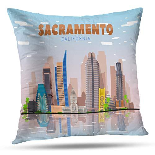 Kutita California West Coast Decorative Pillow Covers, California Skyline Lines with City Sky Travel Picture Skyline Cityscape Throw Pillow Decor Bedroom Livingroom Sofa 18X18 inch