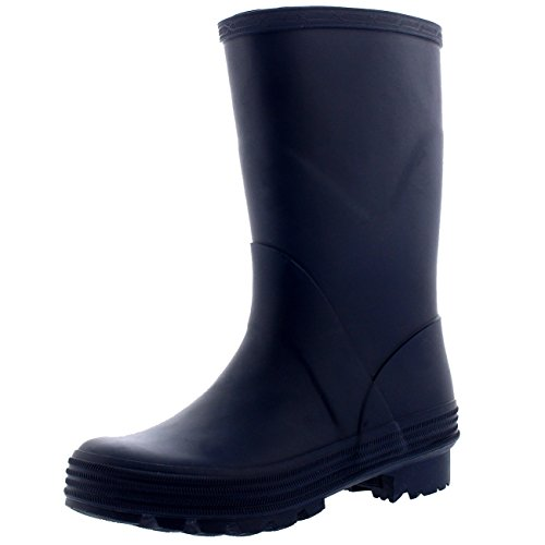 Polar Unisex Kids Stable Waterproof Winter Muck Wellington Snow Yard Rain Boot - Navy - US5/EU37 - BL0261 - Kid Stomp Rain Boot