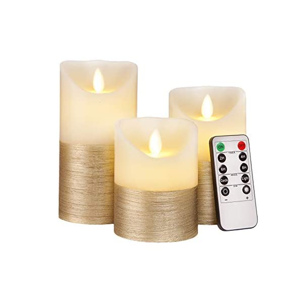 FLAMELESS-Candles-Flickering-LED-Battery-Operated-Electric-Pillar-Candle-with-Realistic-Flicker-Moving-Flame-with-Remote-Control-Timer-Real-Wax-Gold-Trim-Decorative-Home-Decor-Gift-for-Women-Men