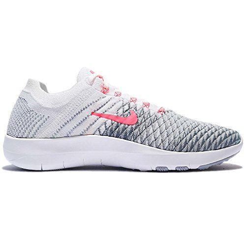 NIKE Womens Free TR Flyknit 2 Nylon Running Shoes White/Hyper Punch Wolf Grey nR479