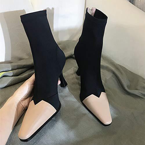 Full noir thickening Shukun Bottes Bottes Bottes Enfants Couture Rétro Chaussettes Stretch Tête Carrée Bottes dans Le Tube Bottes De Tabagisme Talons Aiguilles