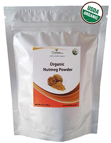 Organic Nutmeg Powder (3.5 oz), Premium Grade, Harvested & Packed from a USDA Certified Organic Farm in Sri Lanka (stand up resealable pouch)