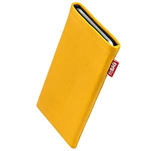 fitBAG Beat Yellow custom tailored sleeve for Apple iPhone 6 Plus. Fine nappa leather pouch with integrated microfibre lining for display cleaning