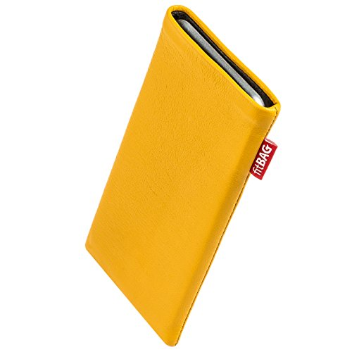 fitBAG Beat Yellow custom tailored sleeve for Samsung Giorgio Armani Phone. Fine nappa leather pouch with integrated microfibre lining for display - Giorgio Yellow