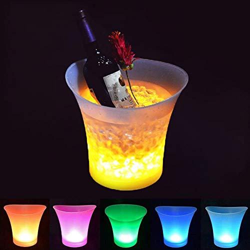 SMETA Colorful Drinks Bucket Portable LED Color Changing Ice Bucket, Pack of 5 pcs