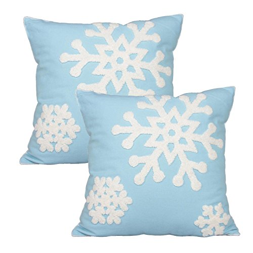 Outdoor Holiday Pillow (E.life Soft Square Christmas Snowflake Style Cotton Line Embroidery Throw Pillow Case Outdoor Cushion Cover Decorative 18x18