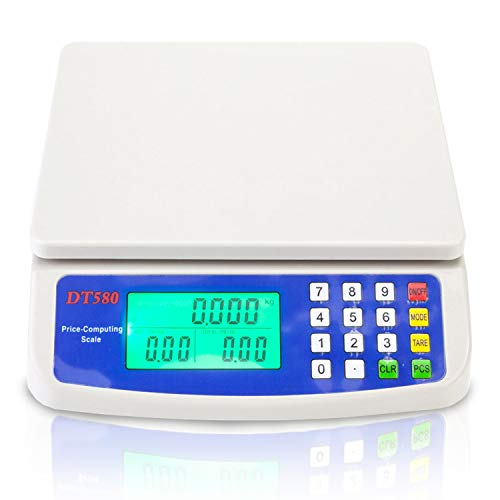 15kg x 1g Electronic Price Computing Scale, MOCCO LCD Digital Commercial Food Produce Scales 33LB Capacity with Batteries for Meat Weighting Kitchen Stores Restaurant Market