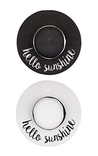 H-2017-2-HS-0609 Embroidered Sun Hat Bundle - Hello Sunshine (Black/White) -