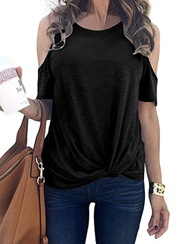Sherosa Women's Cold Shoulder Tops T-Shirts Front Knot Side Twist Tunic One Shoulder Blouse Short Sleeve (S, - Twist Shoulder Dress One