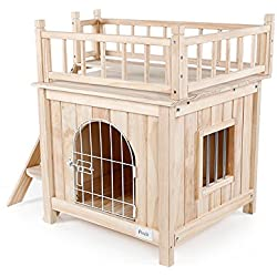 "Petsfit Indoor Wooden Cat/Pet/Dog House with Stairs and Wire Door 28"" Lx21 Wx25 H"