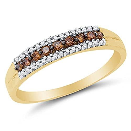 size 45 10k yellow gold chocolate brown white round diamond wedding band ring channel setting 15 cttw - Chocolate Diamonds Wedding Rings