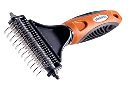 The UNHAIRING Pet Dematting Comb And Grooming Tool For Dogs And Cats With Rounded Steel Rake