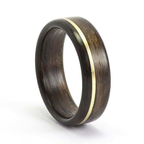 wood ring ebony and gold guitar string ring men 39 s wood wedding ring handmade. Black Bedroom Furniture Sets. Home Design Ideas
