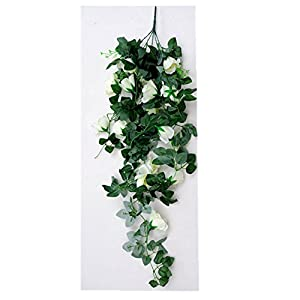 2 PCS Artificial Flowers Rose Garland Artificial Vine with Green Leaves Silk Wisteria Garden Wisteria Vine Silk Hanging Flower For Home Wedding Decoration 75