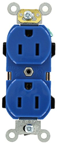Leviton 5252-BU 15 Amp, 125 Volt, Industrial Series Heavy Duty Specification Grade, Duplex Receptacle, Straight Blade, Self Grounding, Blue