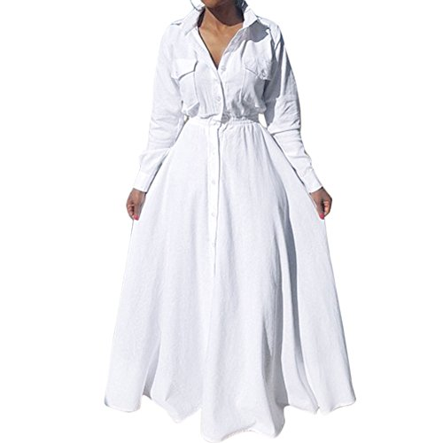 a53d83cfe Bodycon4U Women's Pleated Long Sleeve Party Cocktail Long Maxi Button Down  White Shirt Dress XL