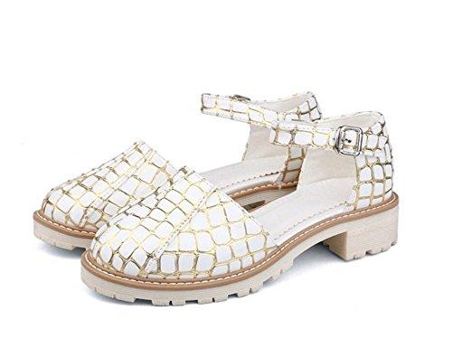34 Mujer Gold Zapatos Xie comodidad 35 cabeza 41 Black Escuela 4 Redonda Compras De verano Hebilla Cm 38 trabajo pExHOq