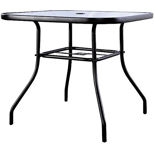 K&A Company Outdoor Dining Patio Square Table Glass Steel Vintage Chippendale Furniture Regency Great Condition by K&A Company