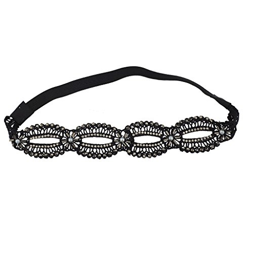 Lux Accessories Black imitation Pearl Crystal Stone and Studs Open Lace Head wrap - Stud Lace