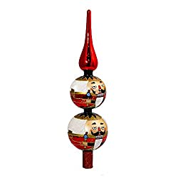 Kurt Adler Glass Nutcracker Treetop, 13-Inch