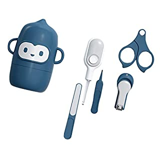 Baby Nail Clippers Kit, 5 Pack Baby Nail Care, Safe Baby Nail Clippers, Scissors, Files and Tweezers, Ear Picks with LED Light, Comprehensive Care for Newborns, Babies and Children (Blue)
