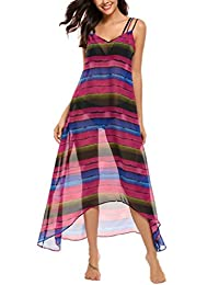 Meaneor Women Casual Sleeveless Print Chiffon Robe Beach Swimwear Cover Up Dress