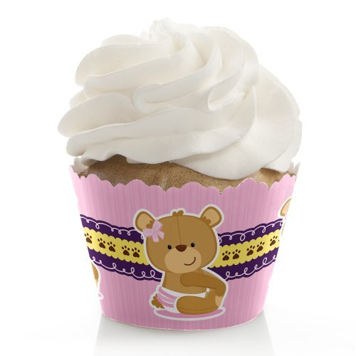 (Girl Baby Teddy Bear - Baby Shower Decorations - Party Cupcake Wrappers - Set of)