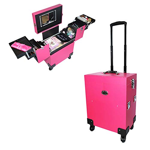 Kepooman Aluminum Makeup Train Case Lockable Professional Cosmetic Box Tattoo Box Make Up Artist Organizer Makeup Case with 6 Extendable Trays,4 Universal Rolling Wheels,Pink