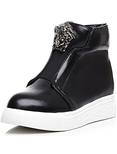 Black Vintage Snowboard Boots - Seoia Women's Vintage Low Wedge Heel Heighten Platform Riding Martin Ankle Boots 0633I