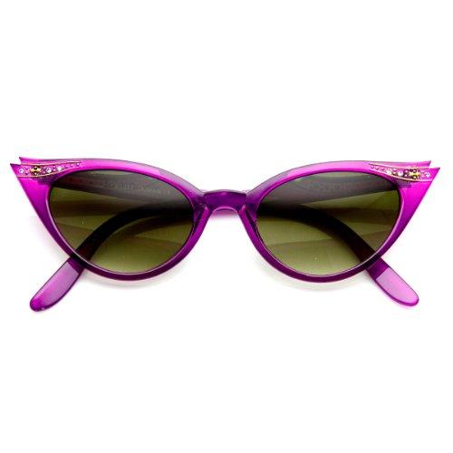 zeroUV - Vintage Inspired Mod Womens Fashion Rhinestone Cat Eye Sunglasses - Eye Cat Contacts Purple