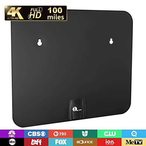 TV Antenna, 1byone Amplified HD Digital Indoor/Outdoor Waterproof TV Antenna Long Range 100 Miles with Signal Booster Support UHF VHF 4K 1080P Freeview Local Channels, 26FT Coax Cable ()