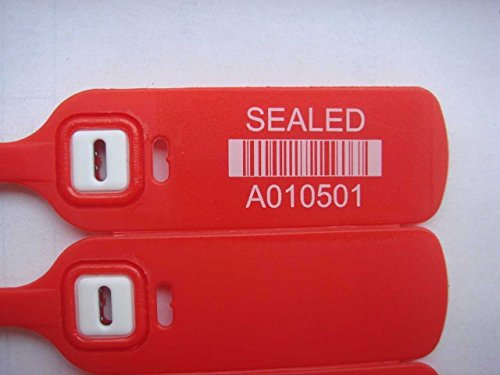 "Red Plastic Seal Security Numbered 16"" – Trucker/Trailer, standard containers truck – vans – doors – airline – duty-free shops – supermarkets – storage-controlling. Same day - 200 seals by AVG Packaging Supplies (Image #1)"