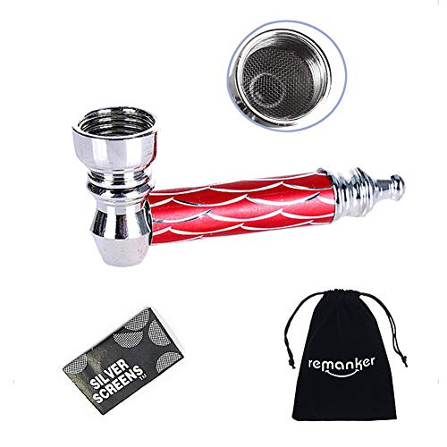 Mini Alloy Tobacco Pipe Scale Design Herb Smoking Tool with 5 Stainless Steel Screen Filter (Red)