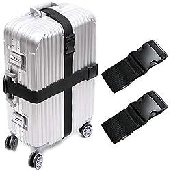 Darller 2 PCS Luggage Straps Suitcase Belts Travel Accessories Bag Straps, Black, One Size