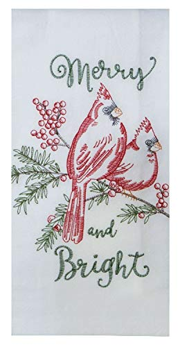 Merry and Bright Red Cardinals Holiday Embroidered Flour Sack Kitchen Dish Towel