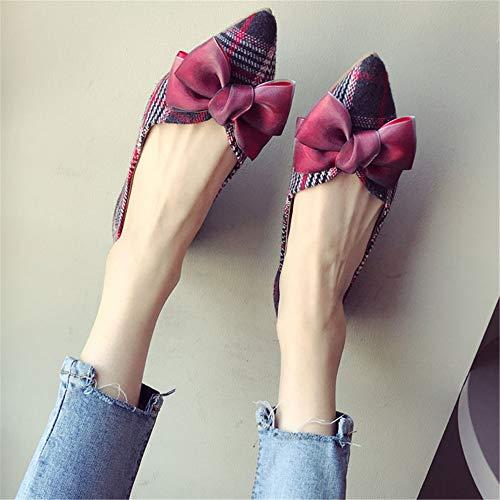 fashion mouth shallow pointed shoes Elegant shoes ladies work plaid 39 single flat temperament EU FLYRCX shoes office Uq8Ew0pw