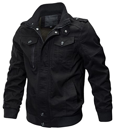 Chouyatou Men's Casual Long Sleeve Full Zip Lightweight Cotton Bomber Jackets (Medium, 59Black) (Casual Twill Cotton Jacket)