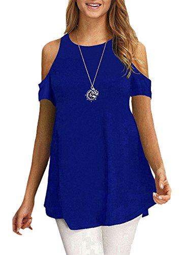 Afibi Womens Cold Shoulder Half Sleeve Swing Tunic Tops For Leggings (Large, A-Blue) (Shoulder Knit Tee)