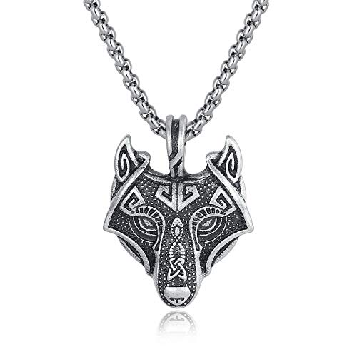 - Holyheart Viking Wolf Head Necklace, Sons of Fenrir Pendant, Norse Forest Wolf Necklace, Pagan Nordic Amulet Necklace, Original Animal Jewelry, Handmade Viking Jewelry Gift for Men Unisex