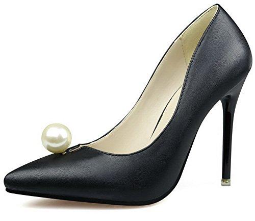 AalarDom Damen Mittler Absatz Spitz Zehe Ziehen Auf Blend-Materialien Pumps Schuhe Schwarz-Juwelen