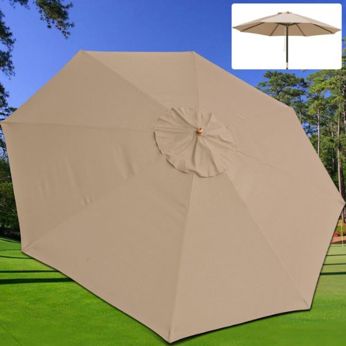 Outdoor Patio Market Umbrella: 13' Canopy Replacement Tan