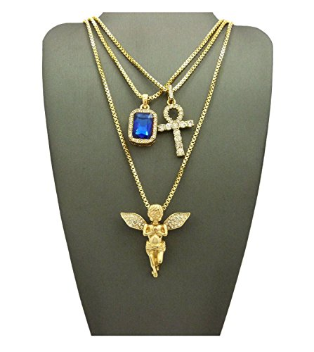 MENS ICED OUT ANKH CROSS RED RUBY BLACK BLUE GREEN STONE ANGEL BOX CHAIN 3 NECKLACE SET (Blue) (Necklace Green Box)