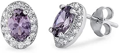 Halo Stud Post Earring Oval Cut Simulated Purple Amethyst Round Clear CZ 925 Sterling Silver