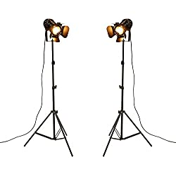 OYGROUP (Pack of 2) Antique Style Floor Lamp Black Tripod Iron Brightness Adjustable Height Lights for Living Room Reading(Bulbs not Included)