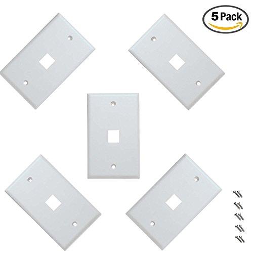iMBAPrice Cat5e / Cat6 Keystone Wall Plate - White (1 Port - Pack of 5)